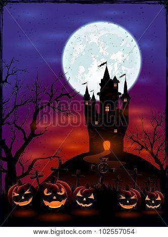 Halloween Pumpkins On Dark Background
