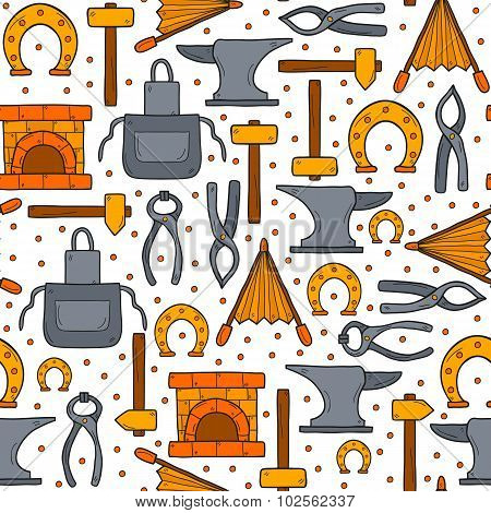 Seamless background with objects in hand drawn style on blacksmith theme: horseshoe, sledgehammer, v