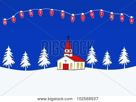Winter Landscape With Church And Merry Christmas Lights