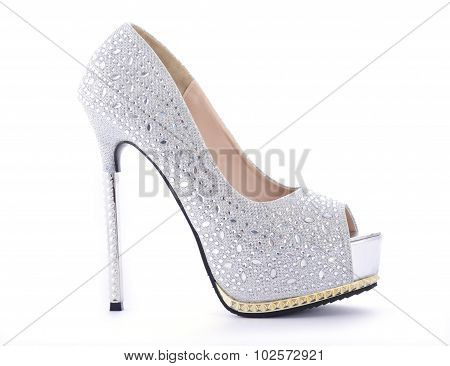 Rhinestone High Heel Stiletto Shoes.