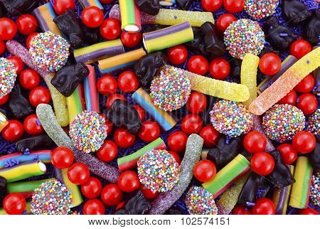 Bright Colorful Halloween Theme Candy Background.