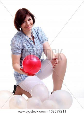 Brunette Brunette Girl In Blue Chemise With Balloons Squats