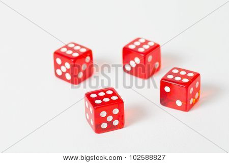Game red dices isolated white with max result. Six on all cubes. Winner. Soft focus put only on first dice. poster