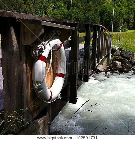 Life Ring On A Bridge