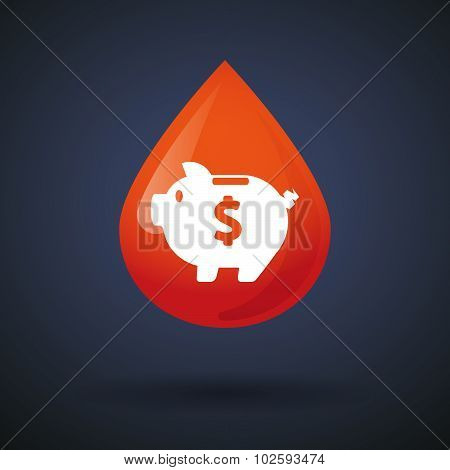 Blood Drop Icon With A Piggy Bank