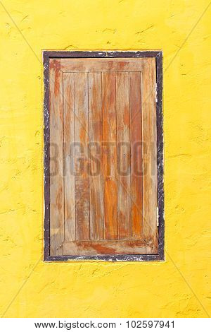 Vintage Window On Yellow Cement Wall Can Be Used For Background