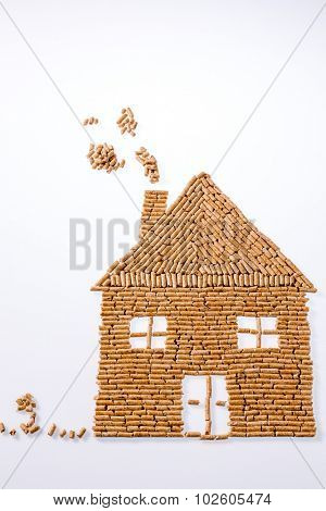 a house was built of pellets for heating. alternative and sustainable energy for heating