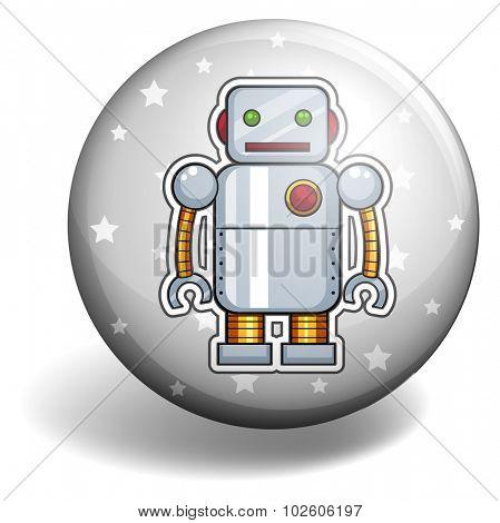 Tin robot on round badge illustration