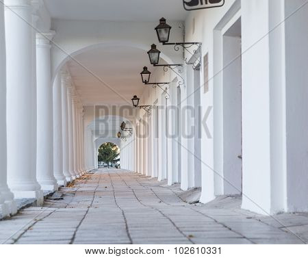 Pillars and Arch Hallway perspective Russia Suzdal poster