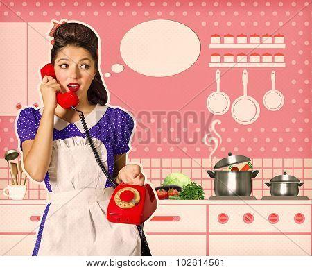 Retro Woman Talking On Phone In Her Kitchen Interior