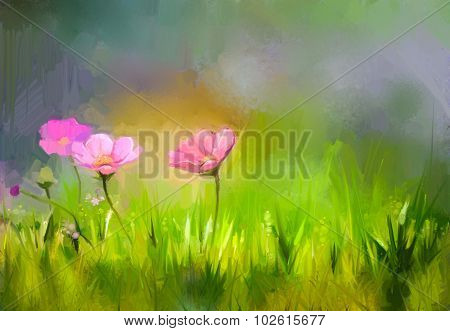Oil Painting Nature Grass Flowers- Pink Cosmos Flower