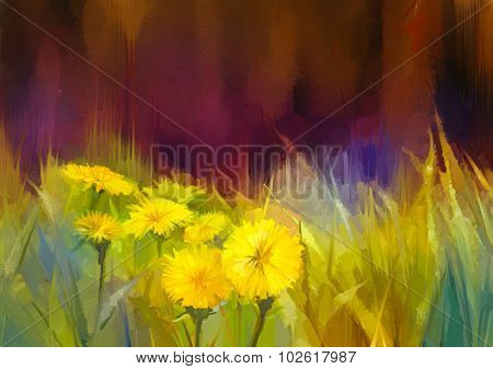 Oil Painting Nature Grass Flowers-yellow Dandelions