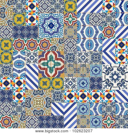 Mega Gorgeous seamless patchwork pattern from colorful Moroccan, Portuguese  tiles, Azulejo, ornaments.. Can be used for wallpaper, pattern fills, web page background, surface textures. poster