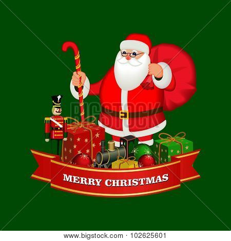 Merry Christmas and happy new year ribbon banner  with  Santa Claus with gift boxes ,  Wooden soldie