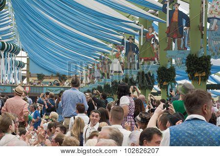 Visitors At The Spatenbrau Tent