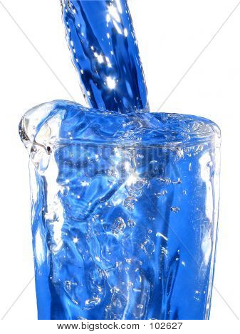 A Cold Glass Of Blue Water