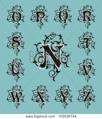 Vintage set capital letters, floral Monograms and filigree font.