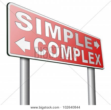 simple or complex keep it easy or simplify solve difficult problems with simplicity or complex solution no difficulty poster