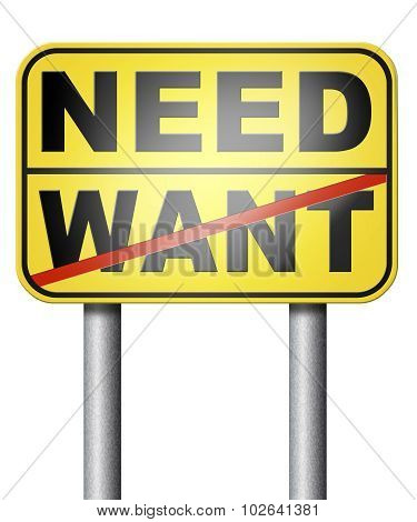 want need back to basic needs or being a big consumer without satisfaction only must have poster