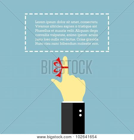 Finger with string reminder poster, vector clip art poster