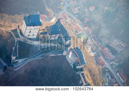Castle Karlstejn in spring photographed from a plane