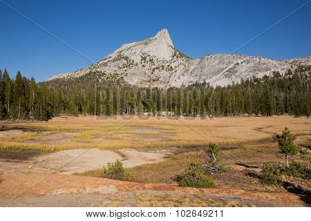Cathedral Peak and meadows. Cathedral Lakes, Yosemite National Park, California, USA.