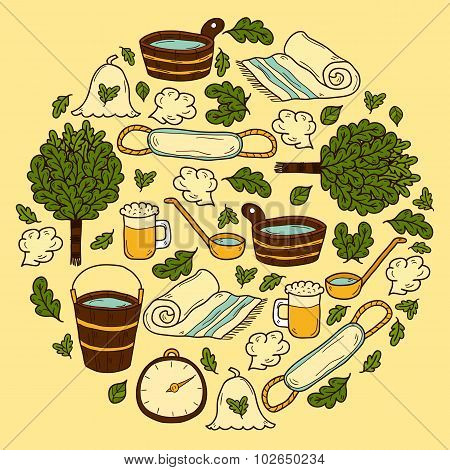 Vector background in circle shape with cartoon hand drawn sauna objects: broom, towel, hat, wisp, be