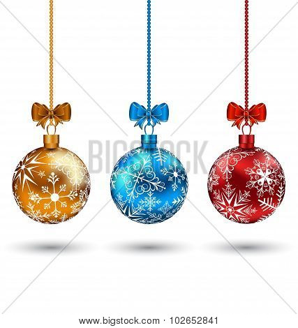 Christmas multicolor balls with bows isolated on white backgroun