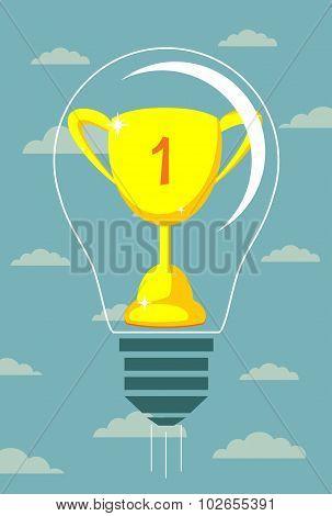 Vector winner cup on light bulb background.
