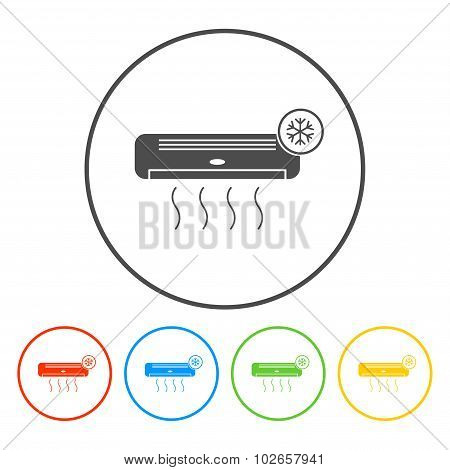 Air conditioner icon. Flat design style eps 10 poster