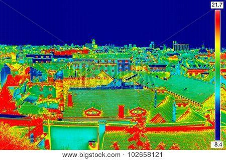 Thermal Image Panorama Of Zagreb