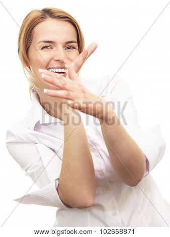 Portrait of young woman smiling and fooling around poster