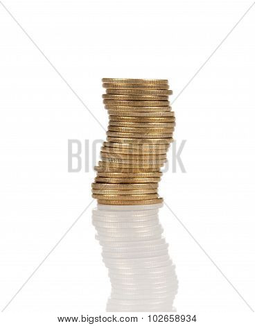 disjointed stack of gold coins isolated on white backdrop