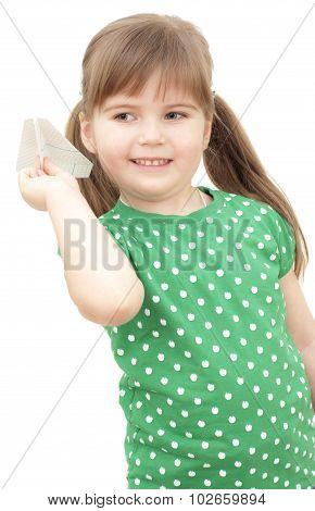 little girl flys the plane on white