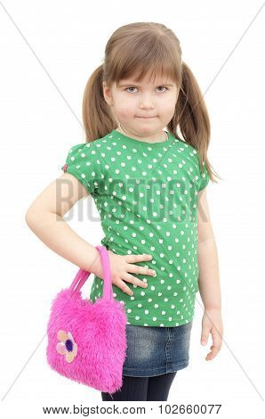 little fashion girl stands with the bag on white