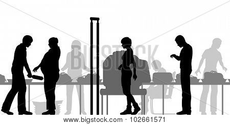 EPS8 editable vector cutout illustration of hand-luggage and passengers being checked at airport security