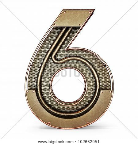 3d number six 6 symbol with rustic gold metal