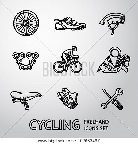 Set of Cycling freehand icons  - wheel, shoe, helmet, chain, cyclist, map with gps, saddle, glove, r