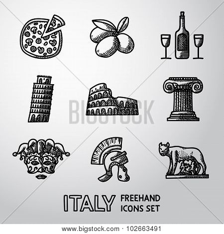 Set of Italy freehand icons - pizza, olives, wine, Pisa Tower, Colosseum, Column, venecian mask, Leg
