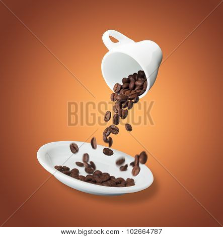 Coffee Beans Are Poured From A Cup Into A Saucer