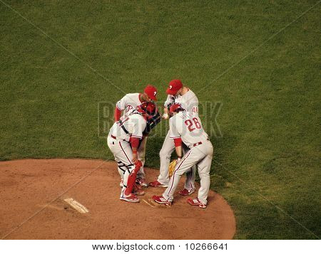 Phillies Infield Talks With Pitcher Ryan Madson On The Mound