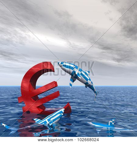 Concept or conceptual bloody euro symbol or sign sinking in water or sea, with Greece sharks eating as a metaphor for crisis in Europe poster