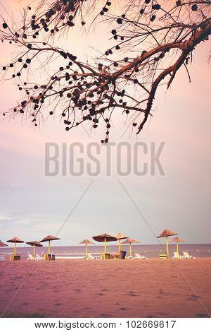 quiet sandy beach at sunrise, Ada Bojana, Montenegro
