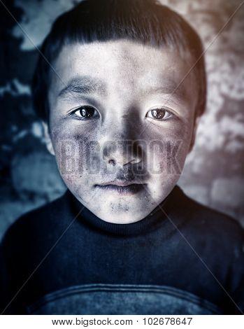Mongolian Boy Portrait Innocent Culture Poverty Concept