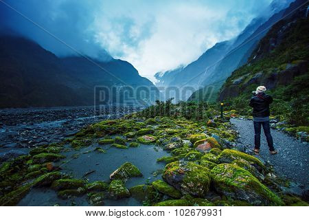Photographer Take A Photograph In Franz Joseft Glacier South Island New Zealand