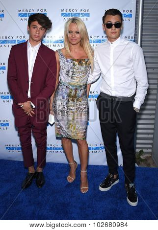 LOS ANGELES - AUG 29:  Pamela Anderson, Dylan Lee and  Brandon Lee Mercy for Animals presents 'Hidden Heroes' Gala  on August 29, 2015 in Hollywood, CA