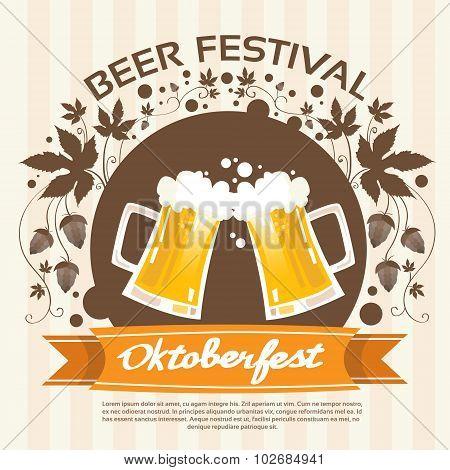 Oktoberfest Festival Two Glass Mug Beer Poster