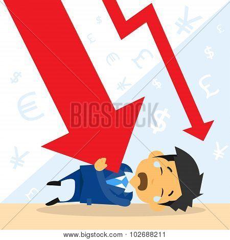 Businessman Fall Down Red Arrow Graph Financial Crisis