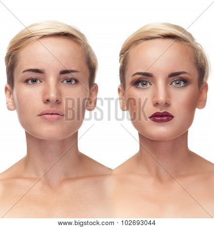 Girl With And Without Make Up Before After Concept