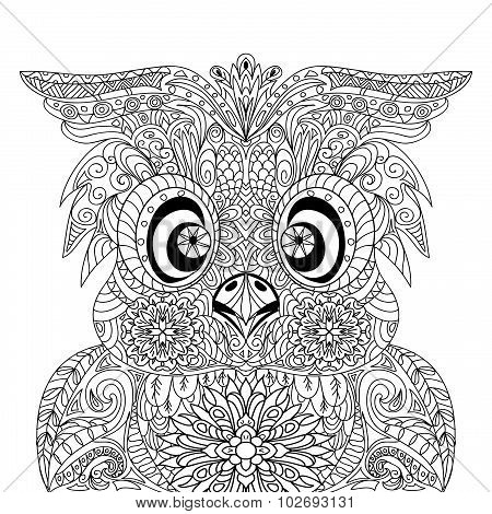 Owl Portrait mandala zentangle